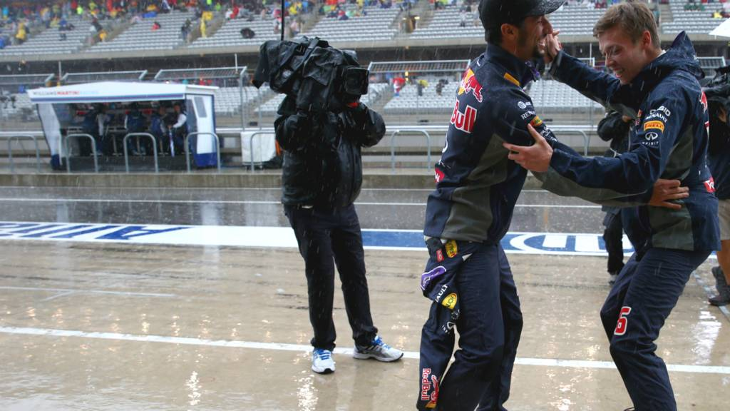 Daniel Ricciardo and Daniil Kvyat dancing