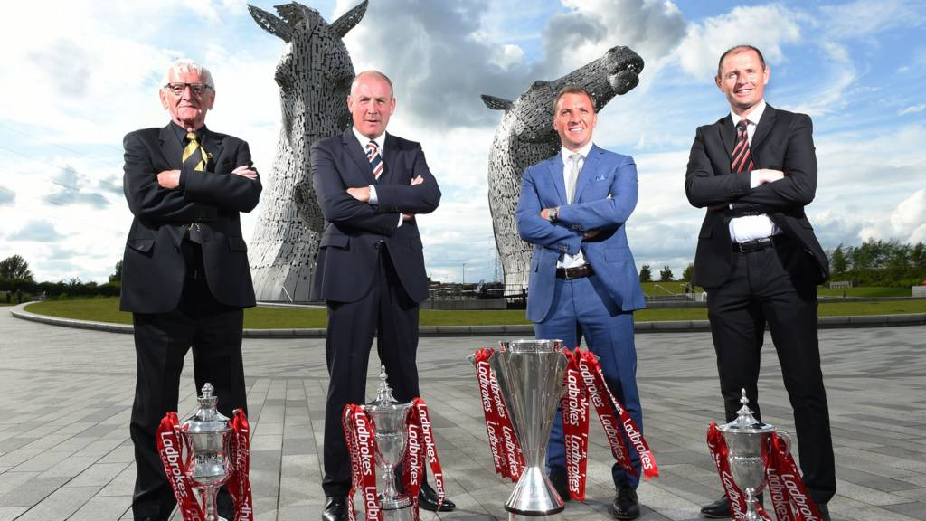 From left: Dave Marshall Vice Chairman of East Fife, Mark Warburton Rangers manager, Celtic boss Brendan Rodgers and Allan Johnston manager of Dunfermline