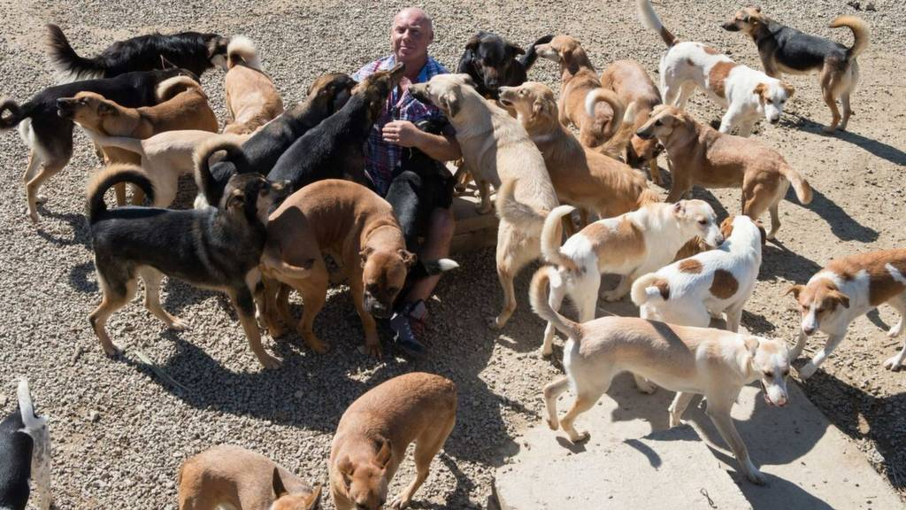 Karl Scarr with dogs