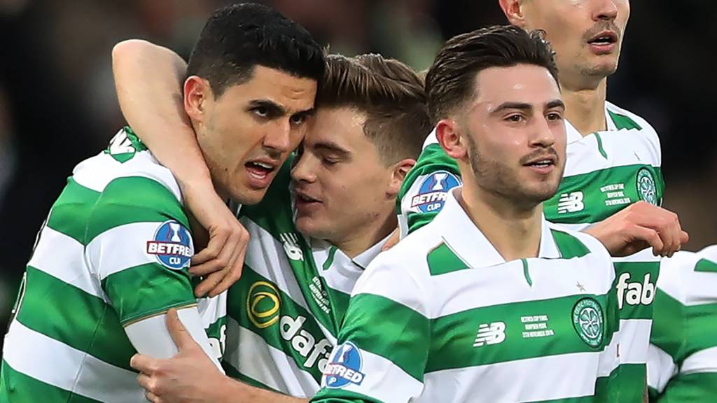 Celtic's Tom Rogic and James Forrest celebrate
