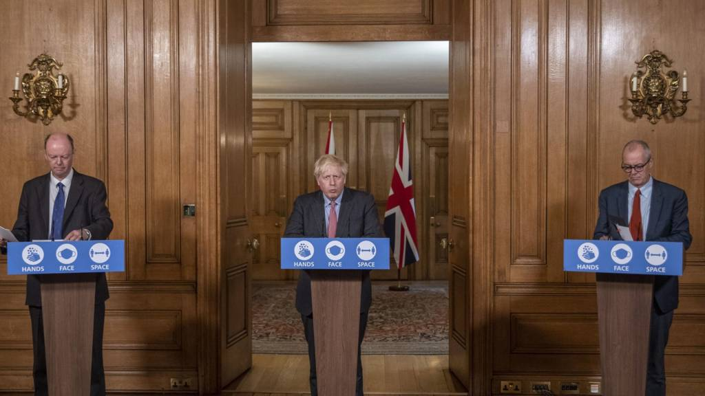Chief Medical Officer Professor Chris Whitty, Prime Minister Boris Johnson and Chief Scientific Adviser Sir Patrick Vallance during a media briefing in Downing Street on 30 Septem,ber 2020
