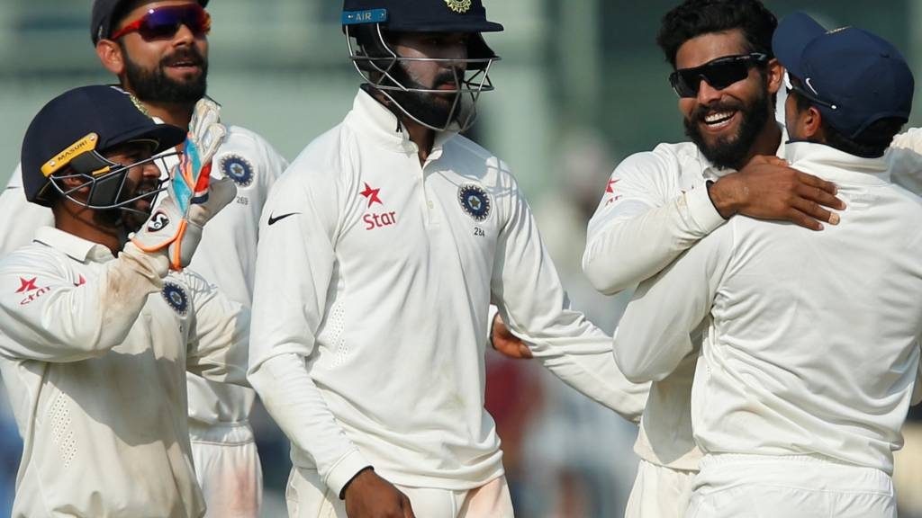 Ravi Jadeja celebrates