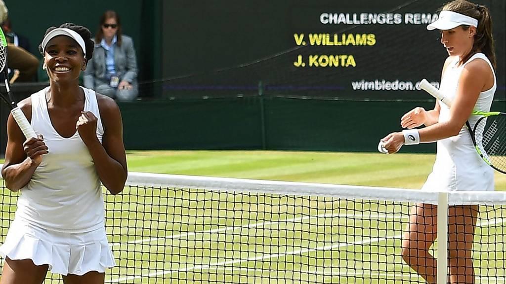 Venus Williams and Johanna Konta
