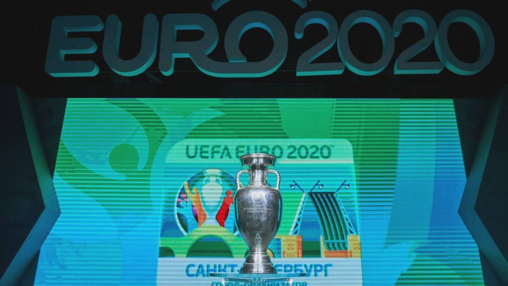 UEFA EURO 2020 branding with the St. Petersburg host city logo on display and UEFA Euro 2020 trophy