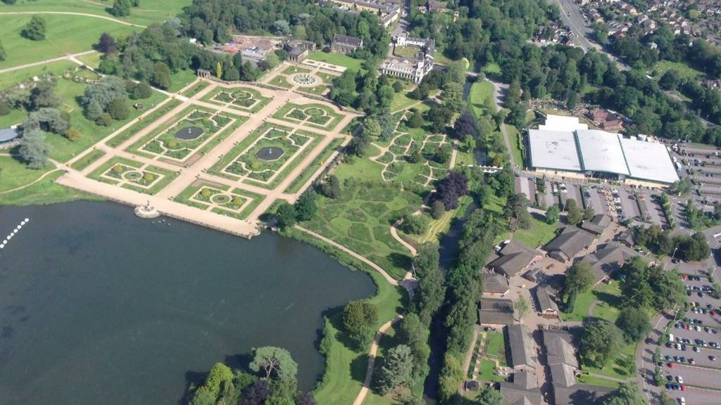 Trentham Estate from a helicopter