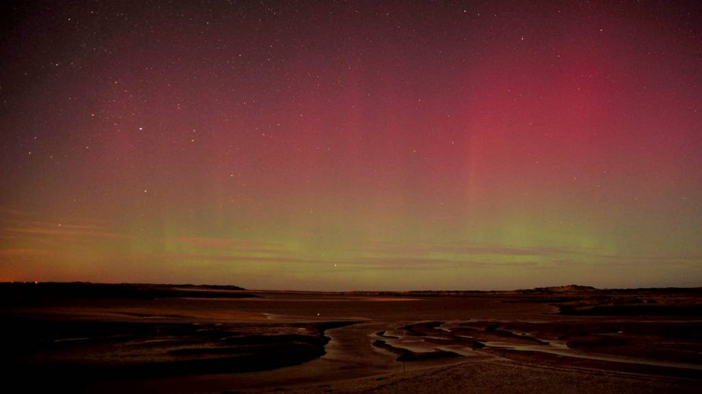 Northern Lights viewed off Norfolk coast