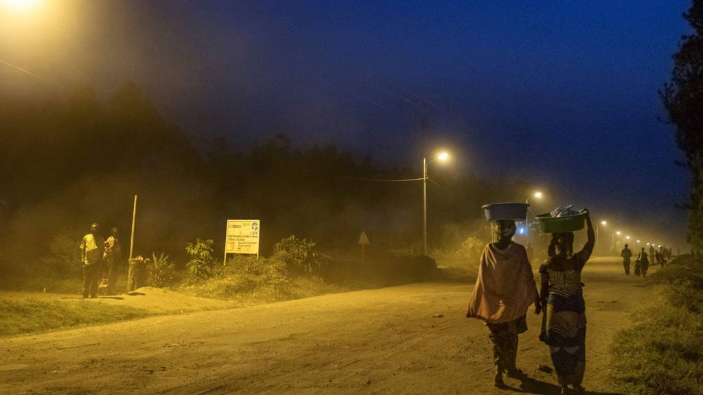 A village in eastern DR Congo with street lights - July 2016