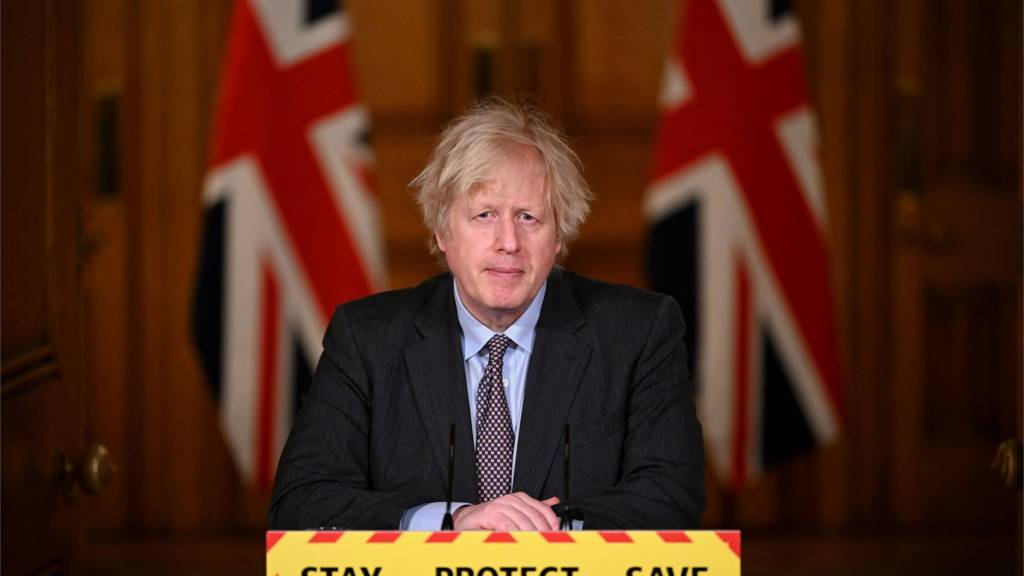 Boris Johnson at the Downing Street briefing on Monday