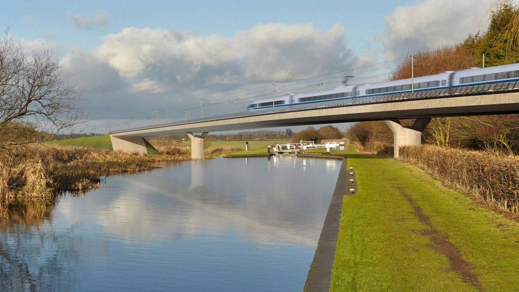 Undated file handout artist's impression of an HS2 train on the Birmingham and Fazeley viaduct, part of the proposed route for the HS2 high speed rail scheme