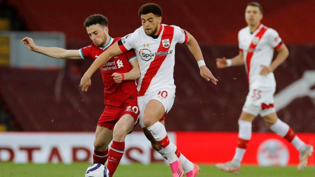 Liverpool's Diogo Jota and Southampton's Che Adams