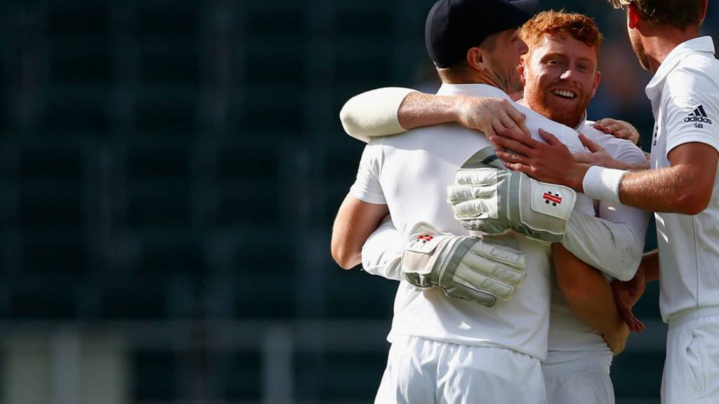 Jonny Bairstow celebrates with Chris Woakes and Stuart Broad
