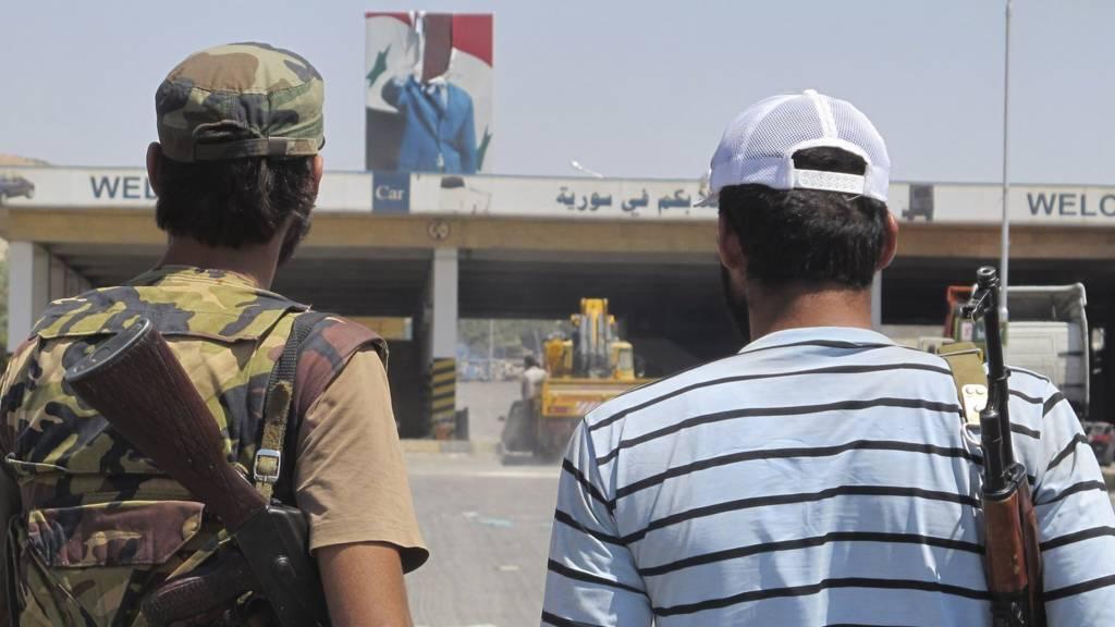 Free Syrian Army members at Jarablus, a border town