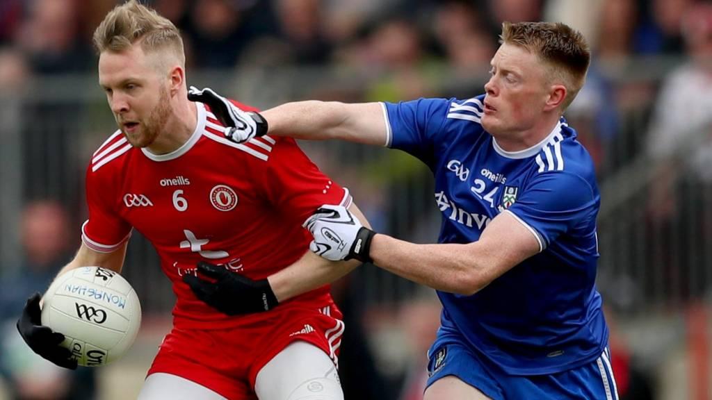 Monaghan's Ryan McAnespie challenges Tyrone's Frank Burns