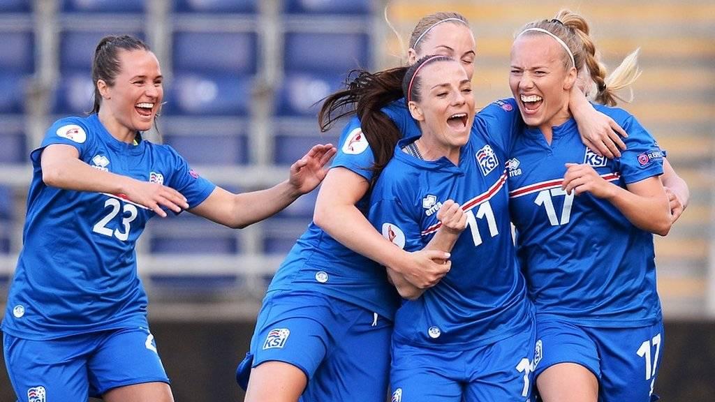 Iceland celebrate the opening goal
