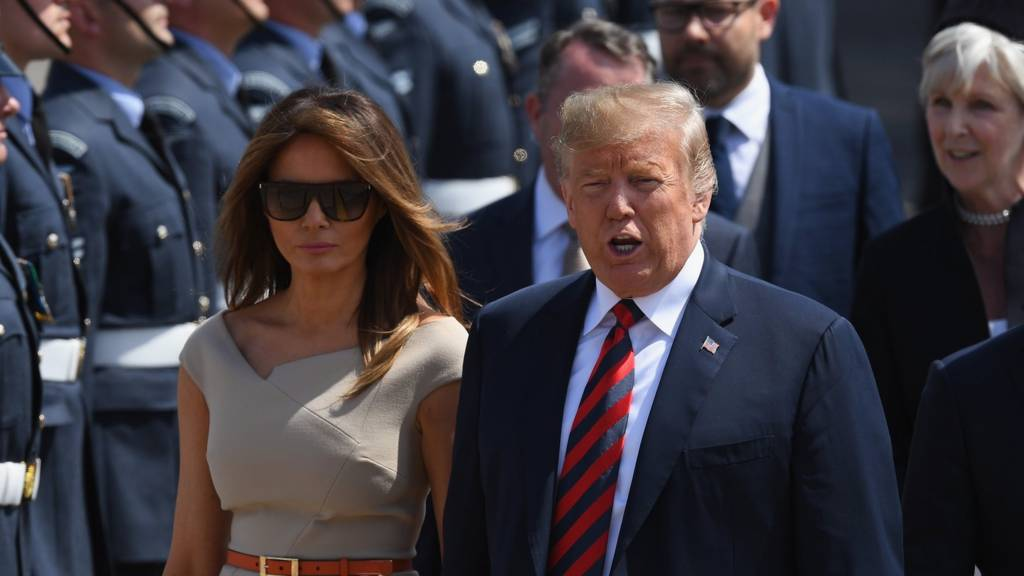 Donald and Melania Trump arrive in the UK