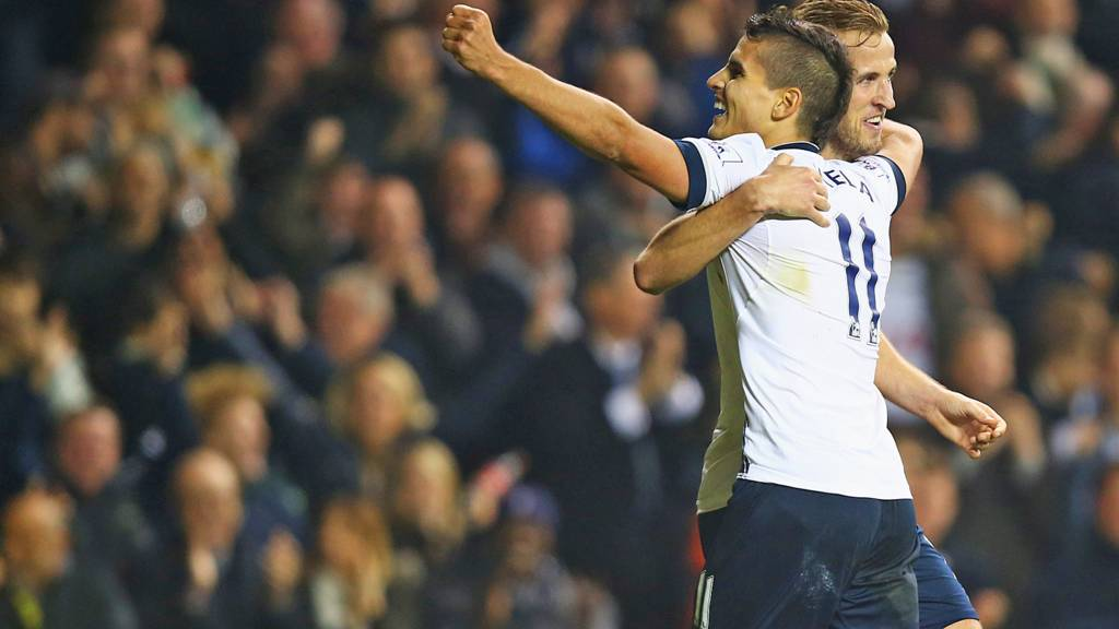 Harry Kane celebrates with Erik Lamela