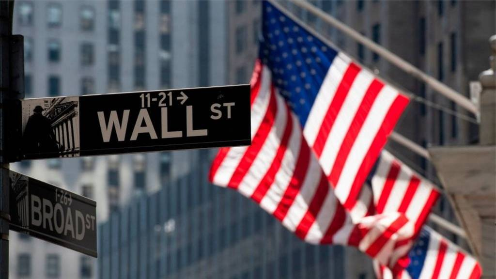 Wall Street sign and US flags