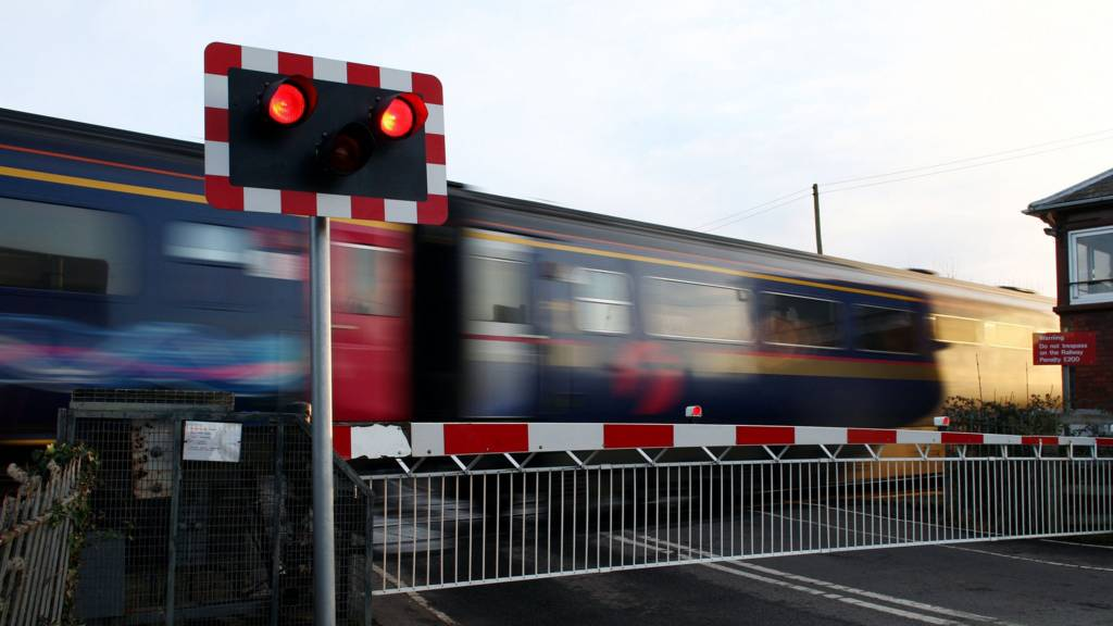 Train goes through level crossing