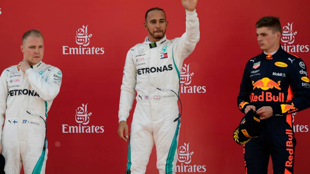 Lewis Hamilton (centre), Valtteri Bottas (left and Max Verstappen