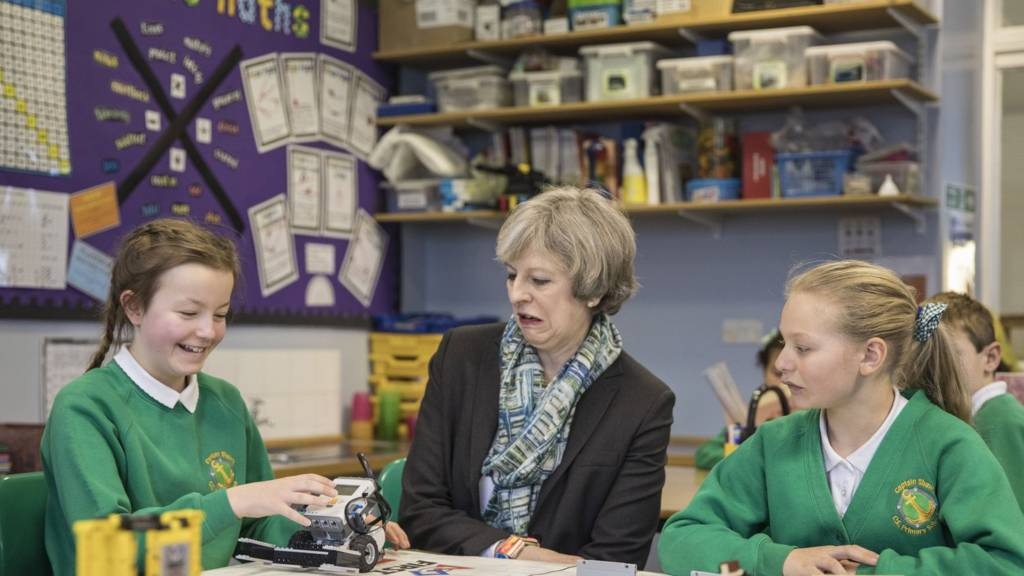 Theresa May at a school in Bootle, Cumbria