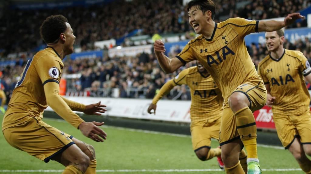 Son Heung-min celebrates