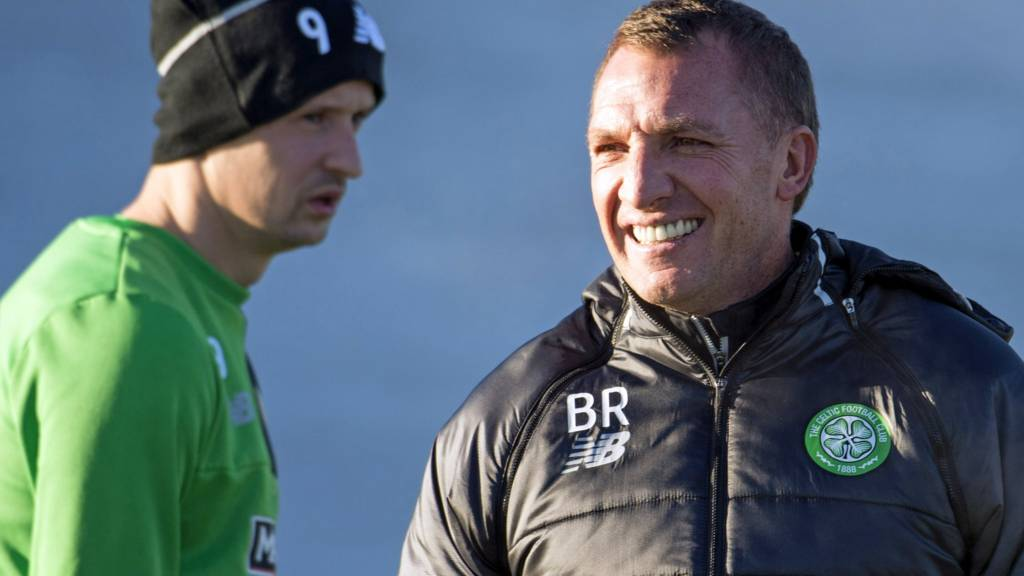 Celtic striker Leigh Griffiths and manager Brendan Rodgers