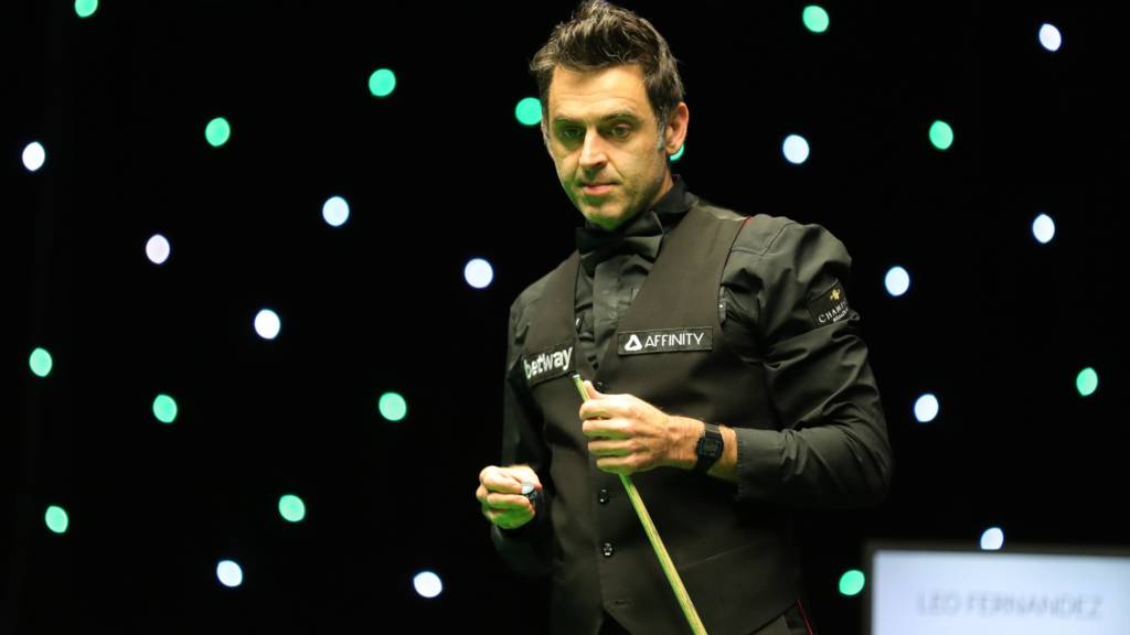 Ronnie O'Sullivan in action at the UK Snooker Championship