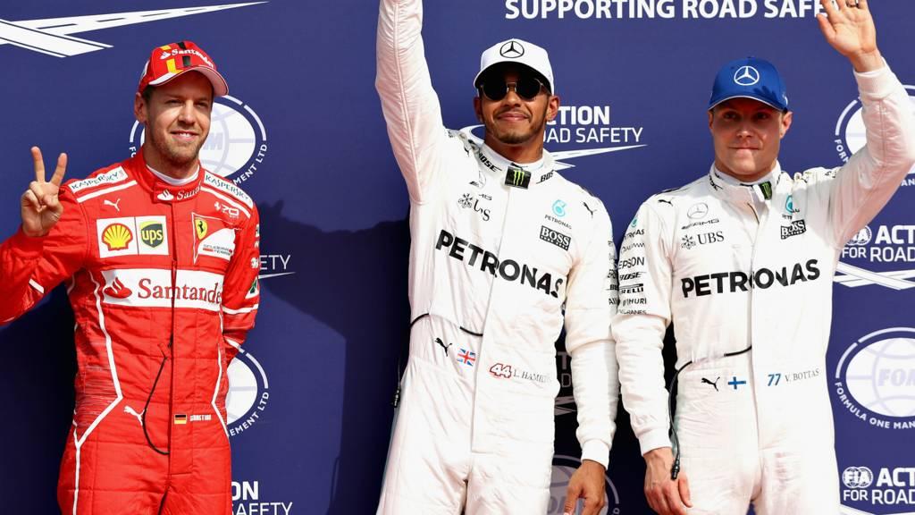 Lewis Hamilton, Sebastian Vettel and Valeri Bottas