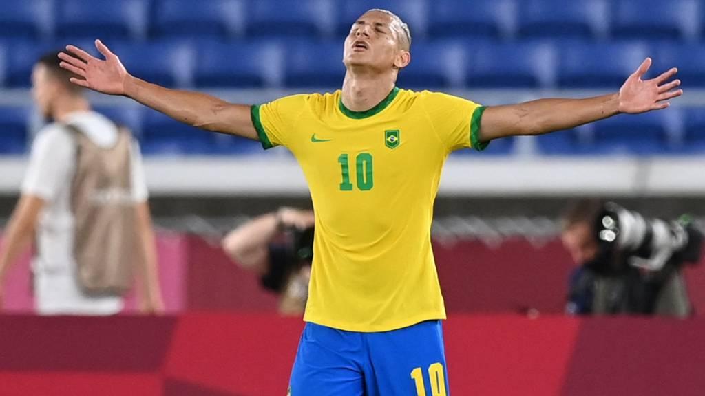 Richarlison celebrates his hat-trick against Germany