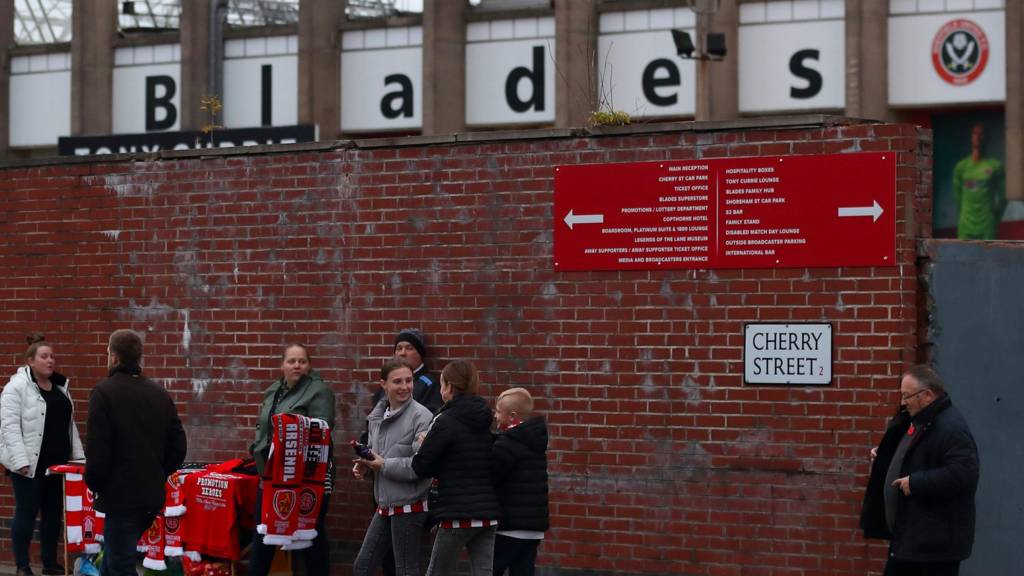 Fans outside of Bramall Lane