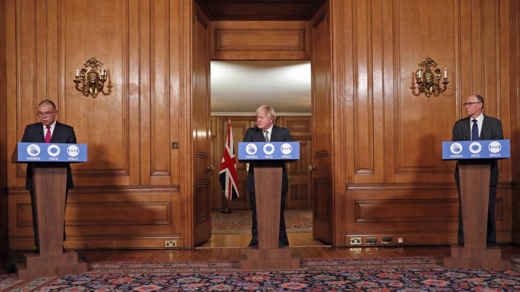 Deputy Chief Medical Officer for England Jonathan Van Tam (left), Prime Minister Boris Johnson (centre) and National Medical Director of NHS England Professor Stephen Powis (right) speaking at a press conference in 10 Downing Street, London