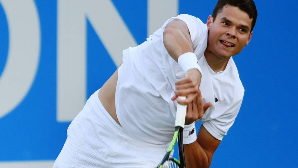 Milos Raonic in action