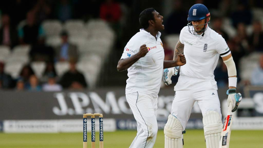 Alex Hales is dismissed by Angelo Mathews