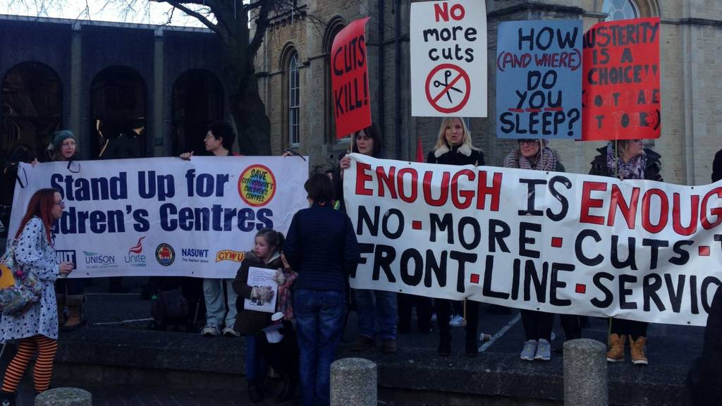 Protest ahead of Oxfordshire council budget meeting