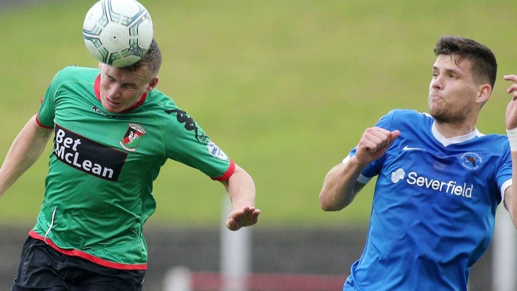 Action from Glentoran against Ballinamallard