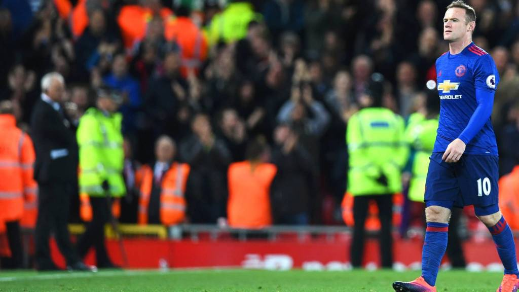 Wayne Rooney walks off the pitch at full-time