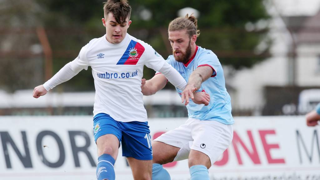 Action from Ballymena United against Linfield