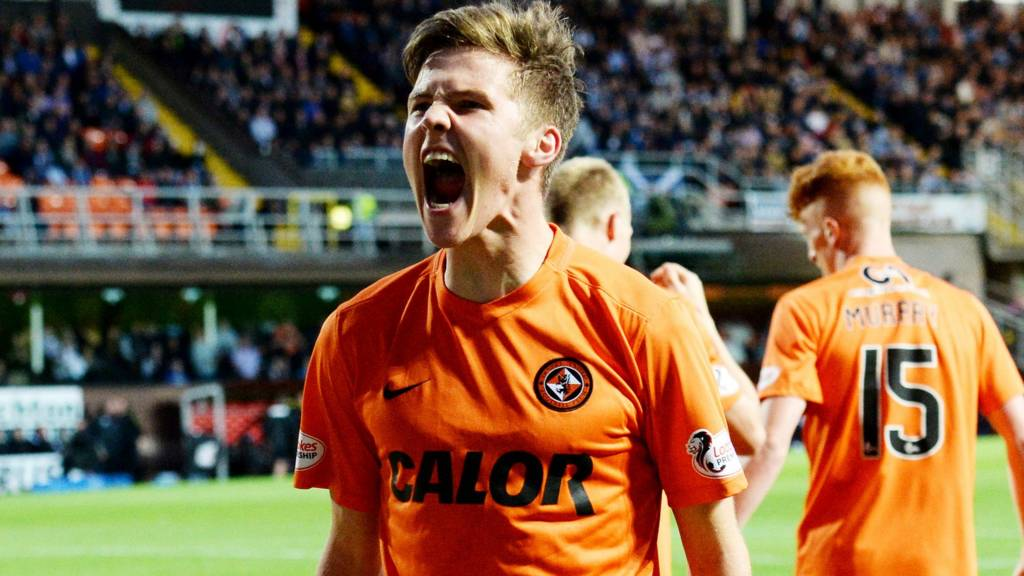 Blair Spittal celebrates after scoring for Dundee United against Dundee