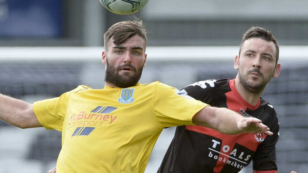 Action from Crusaders against Ballymena United