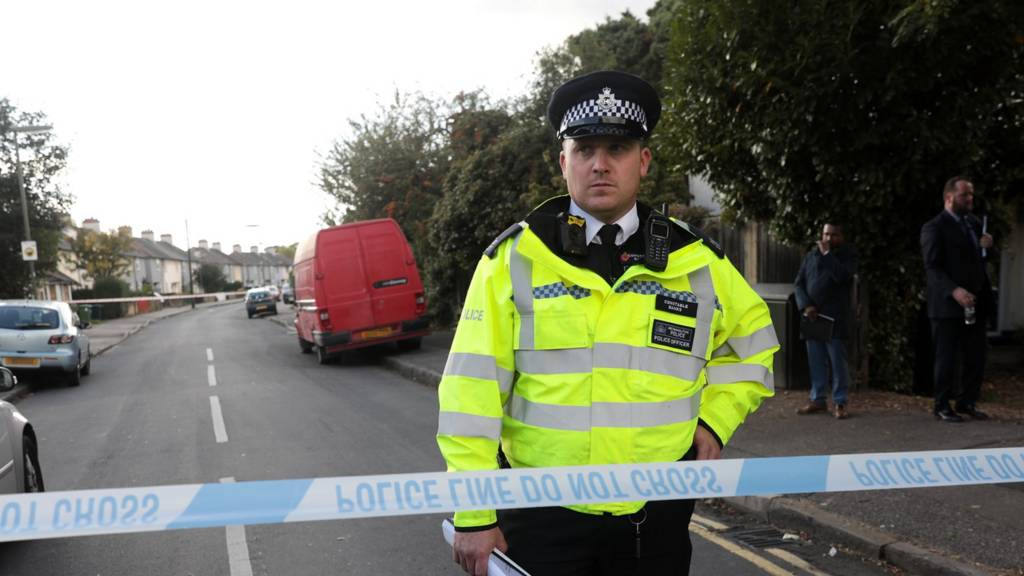 Policeman in Sunbury guards the cordon around evacuated roads