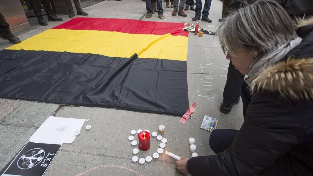 Memorial for Brussels victims in Montreal, Canada. 23 March 2016