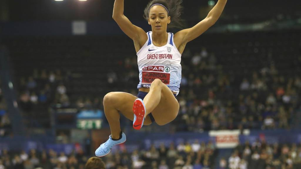 Katarina Johnson-Thompson in action in the British Indoor Championship