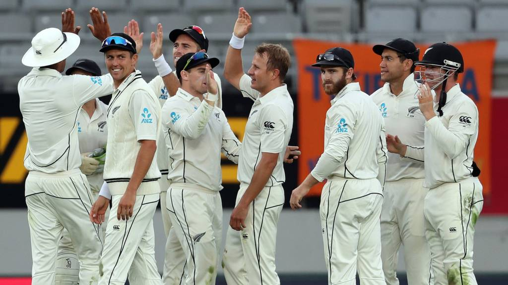 New Zealand celebrate the wicket of Ben Stokes