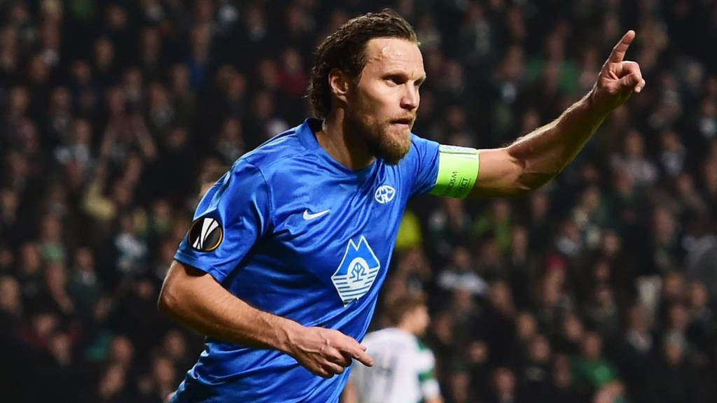Daniel Berg Hestad celebrates after scoring for Molde against Celtic