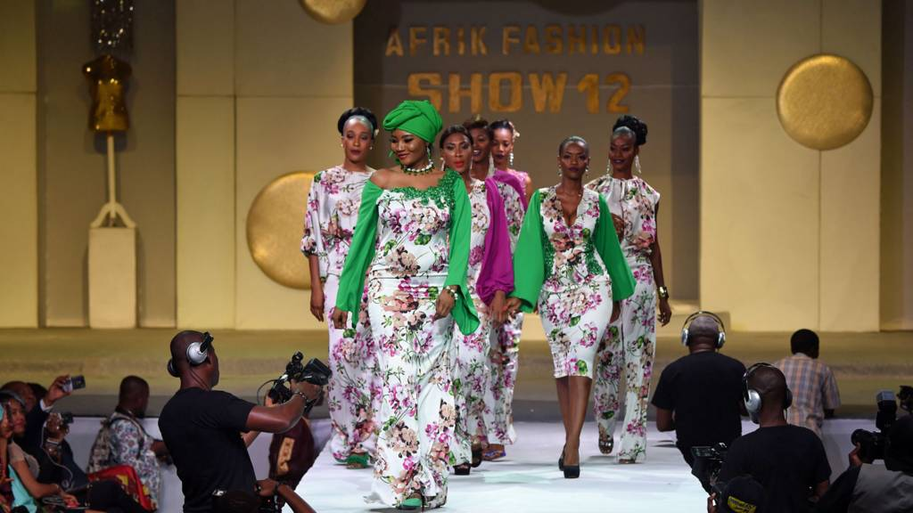 Models during the Africa Fashion show on 7 October 2017 in Abidjan, Ivory Coast