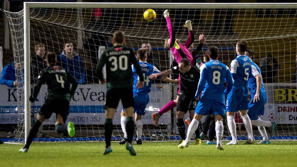 Queen of the South goalkeeper Robbie Thomson scores an own goal in the match against Raith Rovers
