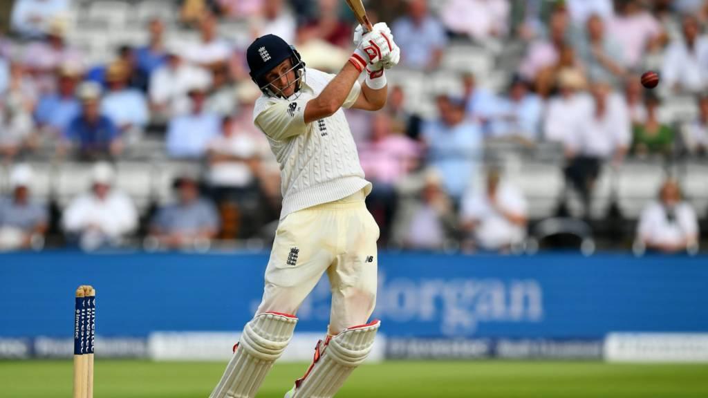 Joe Root bats for England