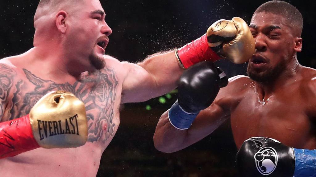 Andy Ruiz Jr hits Anthony Joshua with a left hook