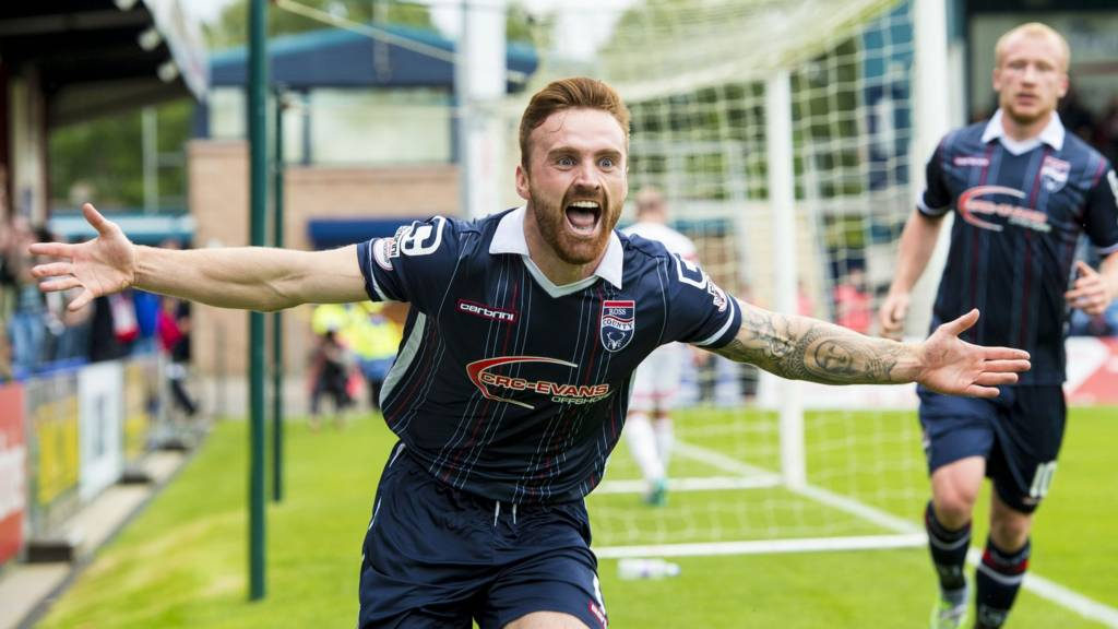 Craig Curran celebrates after scoring for Ross County against Hamilton