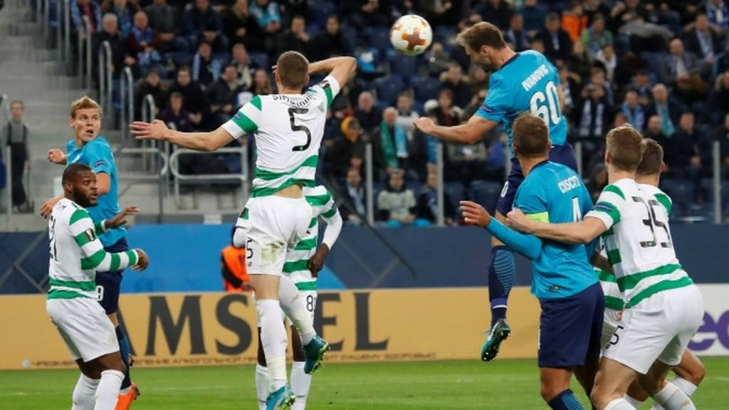 Branislav Ivanovic heads Zenit into the lead against Celtic